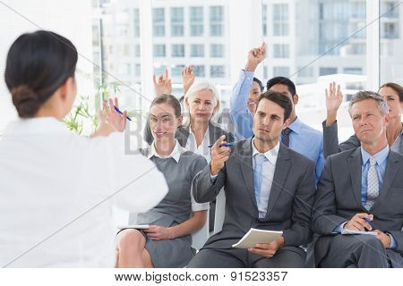 Businesswoman doing speech during meeting in office