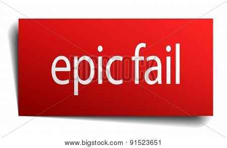 Epic Fail Red Square Isolated Paper Sign On White