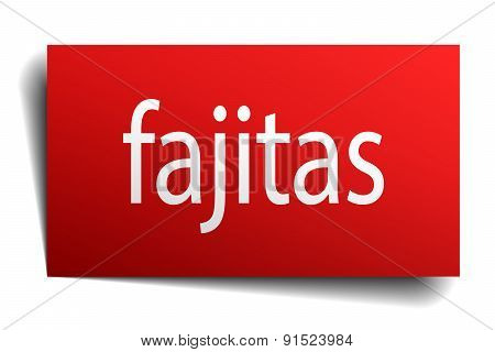 Fajitas Red Square Isolated Paper Sign On White