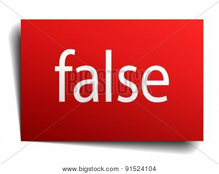 False Red Paper Sign On White Background