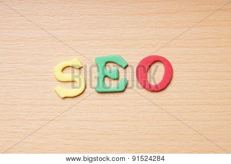 SEO in foam rubber letters