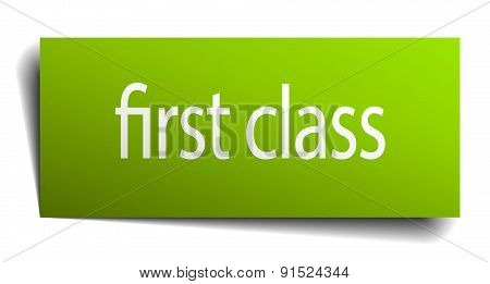 First Class Green Paper Sign Isolated On White