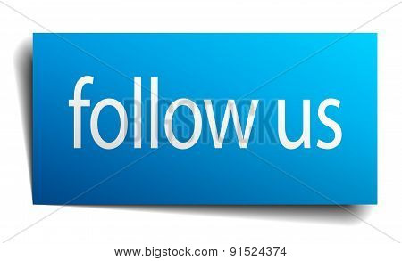 Follow Us Blue Paper Sign On White Background