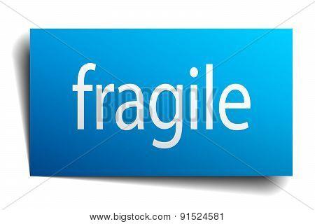 Fragile Blue Paper Sign On White Background