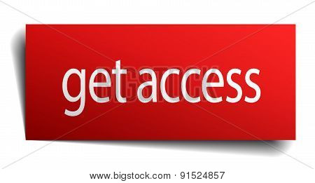Get Access Red Paper Sign On White Background