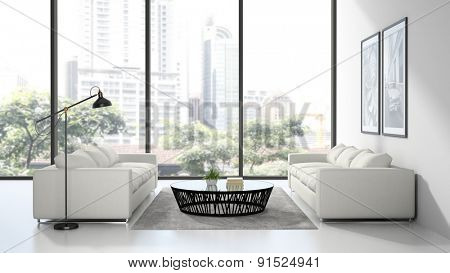 Interior modern design room with white sofas 3D rendering