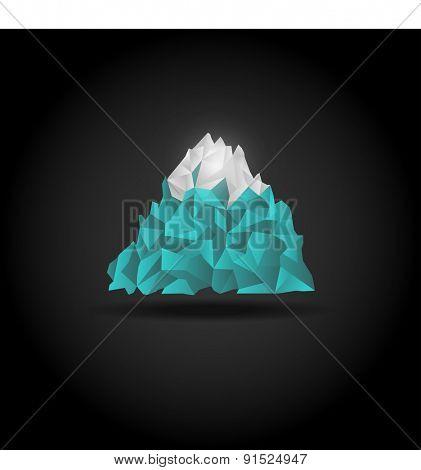 Iceberg icon on black background. Vector mountain logo sign.