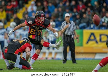 ST. POELTEN, AUSTRIA - MAY 30, 2014: K Jan Hilgenfeldt (#87 Germany) kicks a PAT in match against Finland during the EFAF European Championships 2014 in Austria.