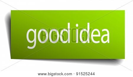 Good Idea Green Paper Sign Isolated On White