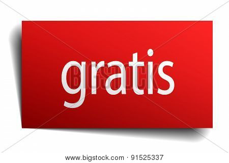 Gratis Red Square Isolated Paper Sign On White