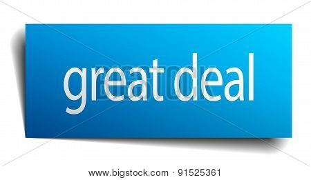 Great Deal Blue Paper Sign On White Background