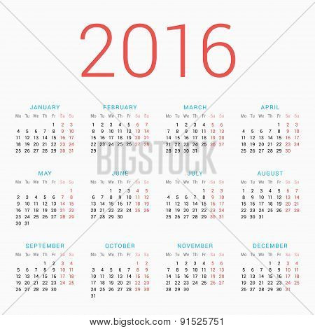 Calendar For 2016 On White Background. Week Starts Monday. Simple Vector Template