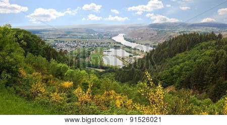 Hilly Landscape And View To Mosel River