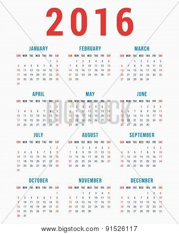 Calendar For 2016 On White Background. Week Starts Sunday. Simple Vector Template
