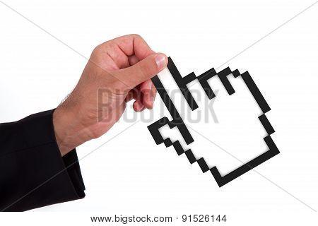 Businessman Holding Mouse Cursor
