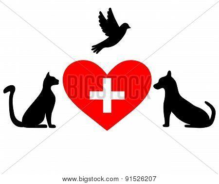 Veterinary Symbol Depicting Dogs, Guts, Bird