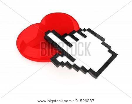 Hand Cursor And Heart Button