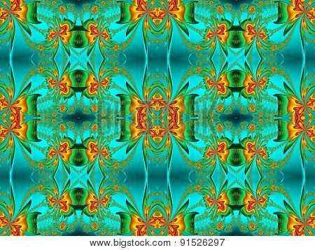 Flower Pattern In Fractal Design. Orange And Green Palette. Computer Generated Graphics.