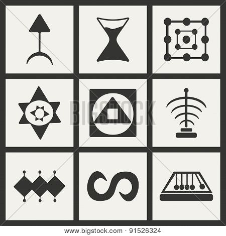 Flat in black and white concept mobile application alchemical symbols