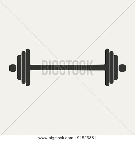 Flat in black and white mobile application barbell