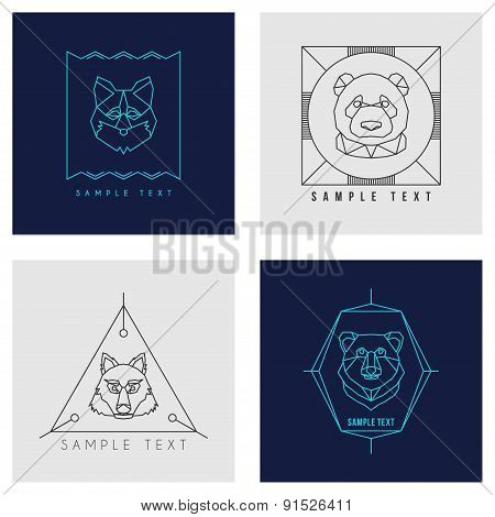 Set Of Line Art Badge Or Logo Template. Wild Animal. Thin Line Graphic Design