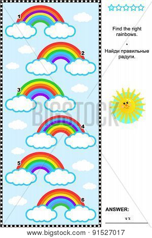 Visual puzzle for kids with rainbows