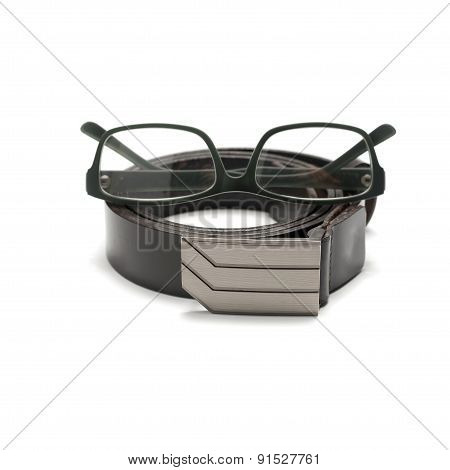 Leather Belt And Eyeglasses