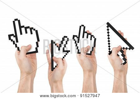 Hands Holding Mouse Cursors