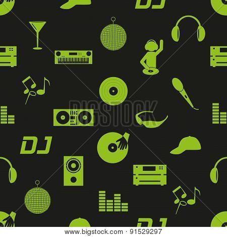 Music Club Dj Icons Dark Seamless Pattern Eps10