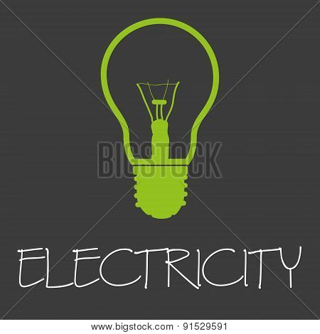 Electricity Text And Light Bulb Symbol Eps10