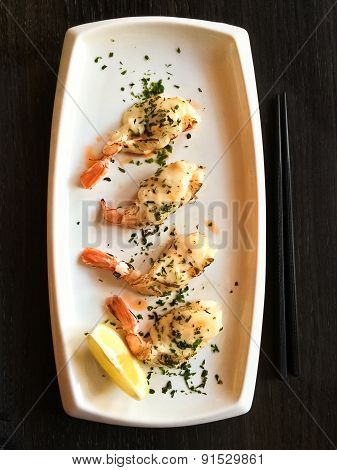 White Plate With Grilled Shrimps