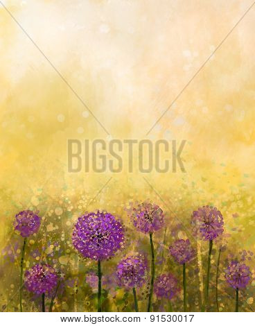 Oil Painting Purple Onion Flower In The Meadows