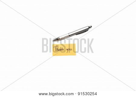Thank You Card With Pen