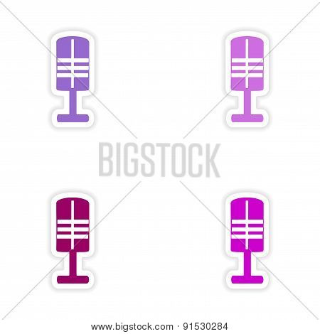 assembly realistic sticker design on paper microphones