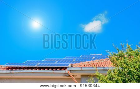 Photovoltaic Panels On A House Roof