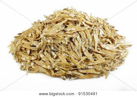 Small Dried Fish On White