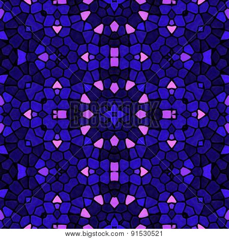 Kaleidoscopic Mosaic Blue-pink Tile Pattern Made Seamless