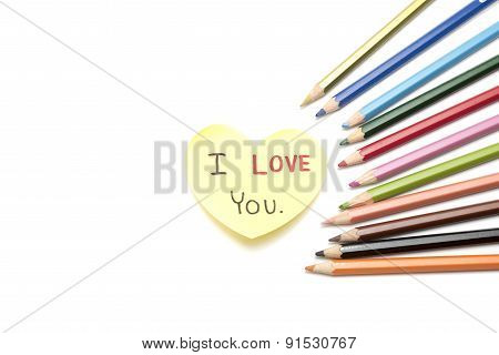 I Love You Write On Heart Paper Card With Color Pencil