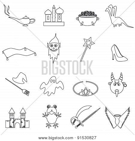 Black Simple Fairy Tales Outline Icons Set Eps10