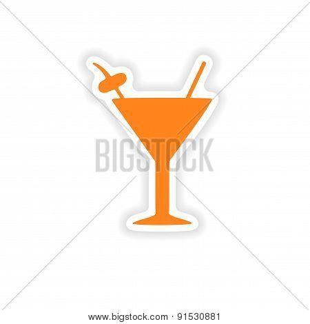 icon sticker realistic design on paper cocktail