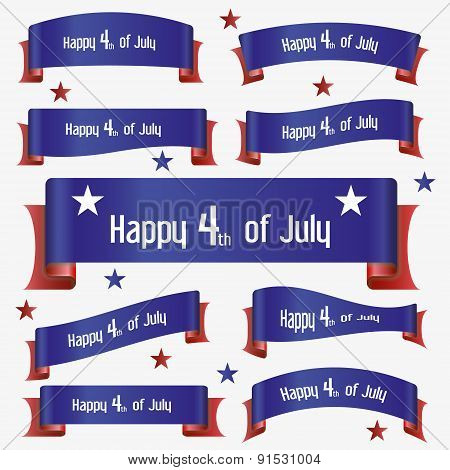 Red And Blue Curved Independence Day Ribbon Banners Eps10