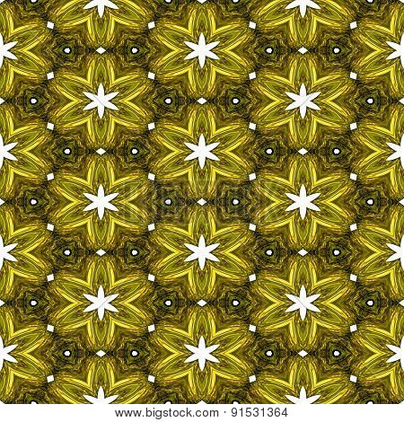 Abstract Yellow Texture Or Background With White Stars With Christmas Look Made Seamless