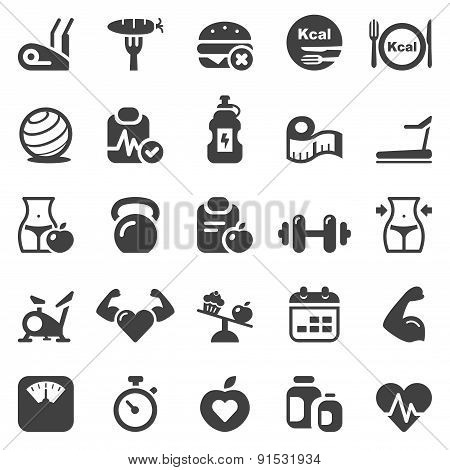 Fitness and Health Iconset Black