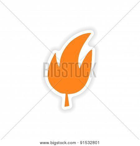 icon sticker realistic design on paper leaf