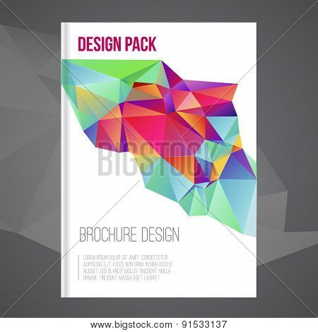 Vector brochure cover design template with colorful  abstract geometric shape, triangle background f