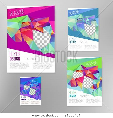 Vector flyer cover design template with colorful  abstract geometric shape, triangle background for