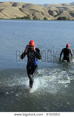 Triathletes Finish Swimming Leg
