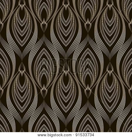 Vector Seamless Pattern Monochrome Ornament. Geometric Background Modern Design