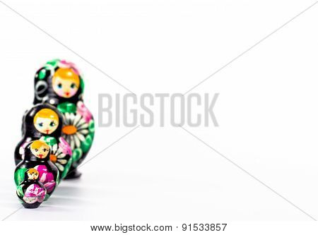 set of four dark dolls isolated on white background
