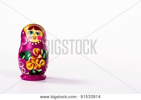 one russian doll isolated on white background